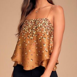 Free People Brown Let Me Love Printed Cami Top